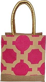 Foonty Daily Use Women Jute Lunch Bag(Pink,6271)