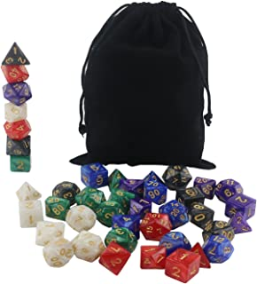 Orgrimmar Colored Dice Series DND Dice Dungeons and Dragons Polyhedral Dice Set 6 Colors D&D Dice for RPG MTG Table Games with Black Drawstring Dice Bag
