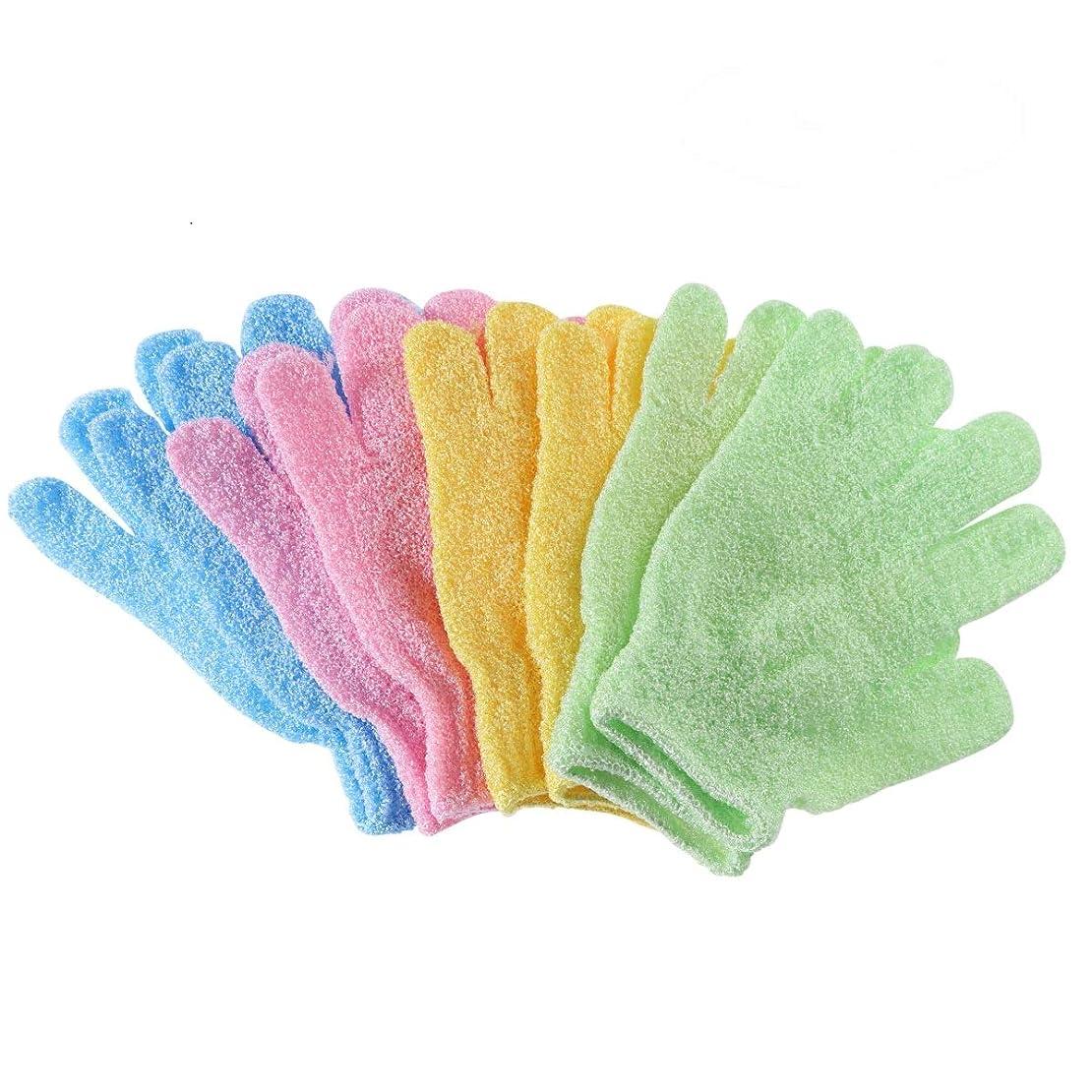 メンバーマラウイ行列Frcolor シャワーバスグローブ 沐浴手袋 ナイロン ボディスクラブ エクスフォリエーター 4ペア入 ランダムカラー