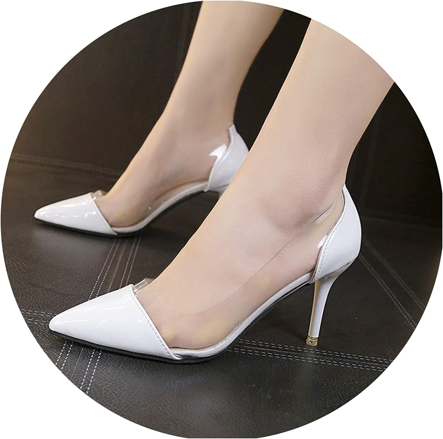 Women High Heels Luxury Leather and PVC Pointed Toe Pumps Dress shoes