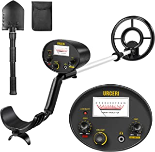 URCERI Metal Detector High Accuracy Waterproof Professional Gold Finder Ultimate Treasure Hunter with Pinpoint Function, Submersible Search Coil & Folding Shovel Included, for Kids and Adults