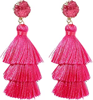 Colorful Tassel Earrings for Women   Layered Tassle Earrings   Choice of Color
