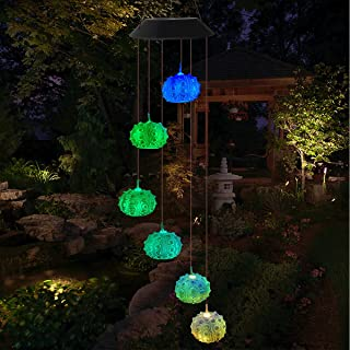 Ganeed Solar Wind Chime Light,Color Changing Waterproof Wind Chimes,Outdoor LED Portable Wind Chime Lights for Gift Party ...