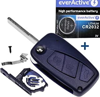 mt key Auto Klapp Schlüssel Funk Fernbedienung 1x Gehäuse Blau 3 Tasten + 1x Rohling SIP22 + 1x CR2032 Batterie für FIAT Citroen Peugeot Iveco Lancia