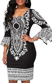 Womens Elegant Long Sleeve Traditional African Print Dashiki Party Bodycon Dress