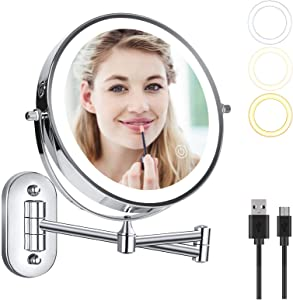 Wall Mounted Makeup Vanity Mirror with 1X/7X Magnification, Dual Power Supply LED Lighted Cosmetic Mirror, 360° Swivel Extendable for Bathroom, Touch Switch 3 Color Lights Modes, 8 Inch