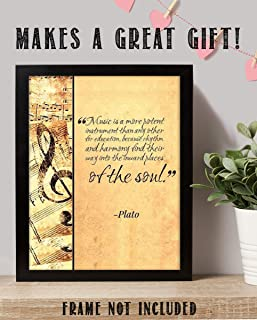 """Plato Quotes Wall Art- """"Music Finds Its Way Into Our Soul""""- 8 x 10 Art Wall Print- Ready to Frame. Modern Home Décor, Studio & Office Décor. Makes a Perfect Gift for Music Inspiration & Philosophy."""