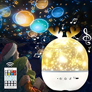 AYUQI Star Projector Night Light Rechargeable for Kids Sky Night Light Lamp with Music Speaker, Remote Control, 4 Lighting Modes and 6 Films for Baby Nursery, Kid Room Decor, Birthday Party