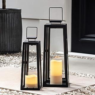 مجموعه Lights4fun ، Inc. مجموعه ای از دو باتری مشکی فلزی با چراغ های روشنایی شمع بدون شعله LED برای استفاده در فضای باز