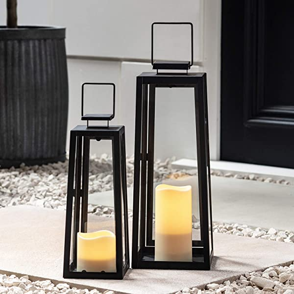 Lights4fun Inc Set Of Two Black Metal Battery Operated LED Flameless Candle Lanterns For Indoor Outdoor Use