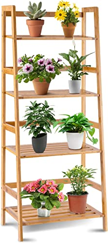high quality Giantex high quality 4-Tier Bamboo Plant Stand Flower Pots Holder Display Shelf, wholesale 47.5inch Ladder Shelf Plants Organizer Rack for Patio Balcony Garden Home, Bookcase Planter Storage Shelving Unit Indoor Outdoor online sale