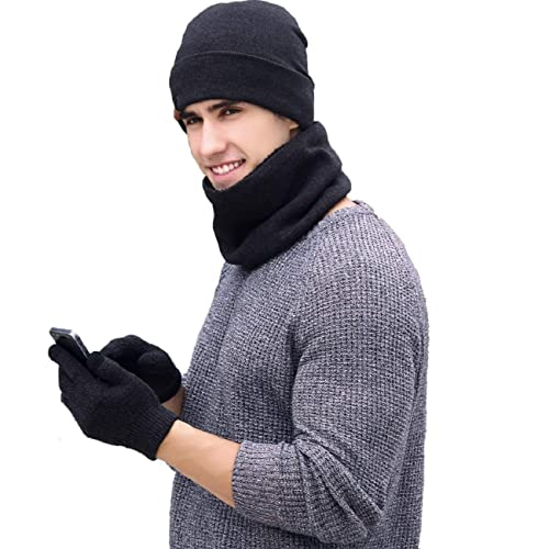 a070f5a4631 Tuopuda Men Women Hat Scarves Gloves Set Thermal Winter Warm Knitted Beanie  Hat Neck Warmer and