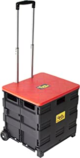 dbest products Quik Cart Wheeled Rolling Crate Teacher Utility With seat heavy duty collapsible basket with handle, Red