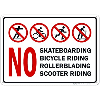 No Skateboarding Scooters Print Red Black White Picture Symbol Business Store Front Window Road Street Sign
