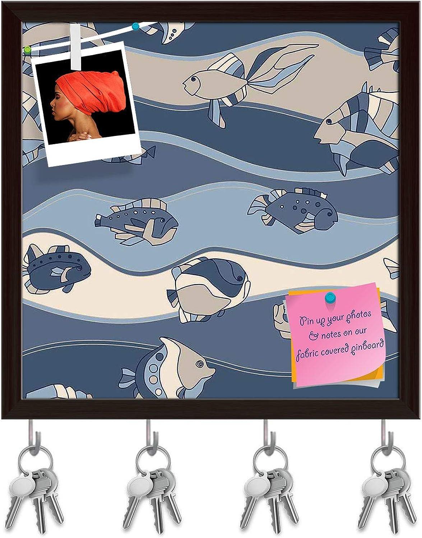 Artzfolio Fish Aquarium Key Holder Hooks   Notice Pin Board   Dark Brown Frame 8 X 8Inch