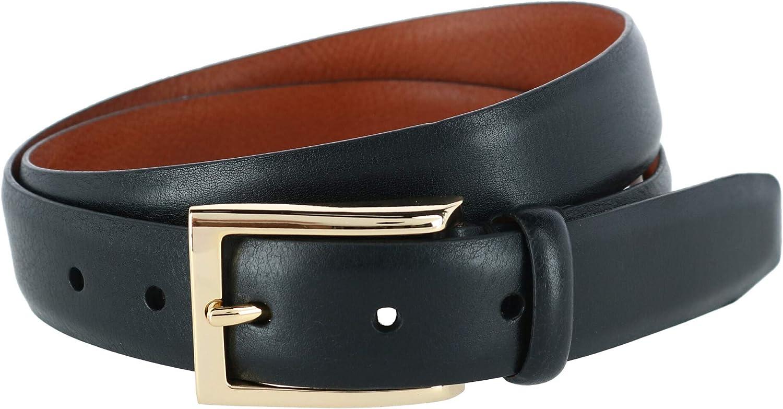 Trafalgar Men's Andrew 30mm Milled Finish Leather Dress Belt