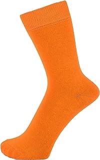 ZAKIRA Finest Combed Cotton Dress Socks in Plain Vivid Colours for Men, Women