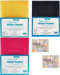 ByAnnie's Mesh Fabric Lightweight Bundle-Dandelion, Lipstick and Navy 18