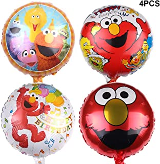 Bsstr4 Pcs ELMO Foil Balloons for Kids Gift Birthday Party Supplies Decor