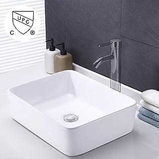 KES Bathroom Vessel Sink 19 Inch White Rectangle Above Counter Countertop  Porcelain Ceramic Bowl Vanity