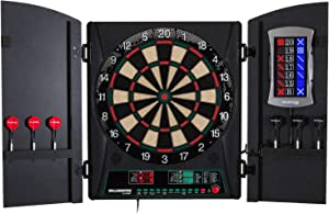Bullshooter Electronic Dart Board Cabinet Set Home Bar Game Room Playroom Wooden Cabinet Doors LCD Display for Up to Eight Players - 34 Games 183 Variations - 2 Sets of Soft Tip Darts