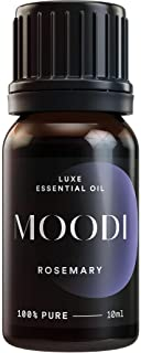MOODI PURE Undiluted Rosemary Essential Oil – Natural Hair Growth & Anti Aging Oils - Ancient Steam Distilled Therapeutic Grade Aromatherapy Oils for Stimulating Scalp, DIY Beauty, Calm & Vitality