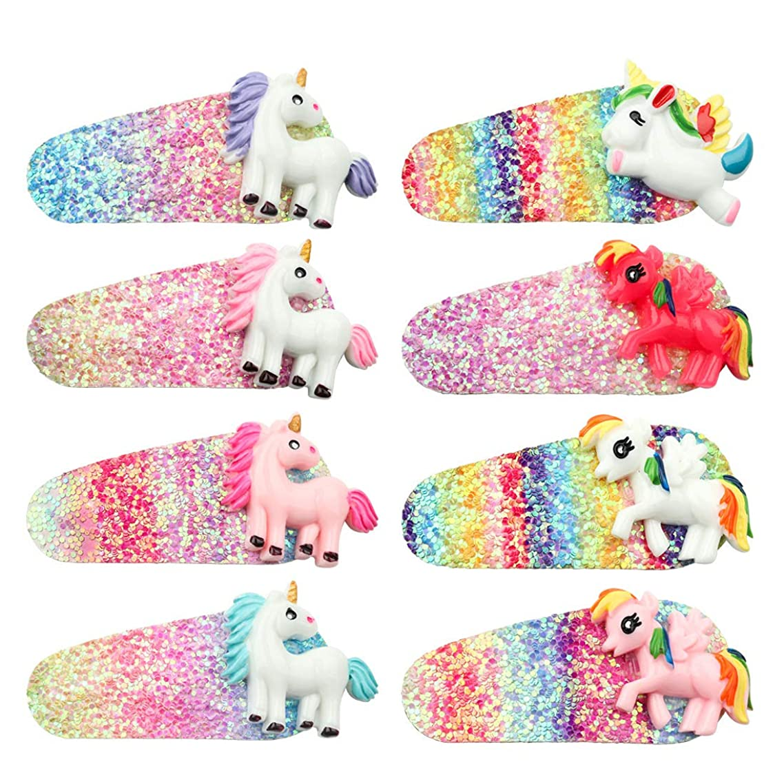 8 Pack Mini Rainbow Unicorn Hair Clips Sequin Unicorn Hair Accessories- Perfect for Daily Wearing, Party Decoration, Birthday, Christmas, Halloween