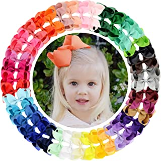 """ALinmo 40 Colors 4.5"""" Boutique Grosgrain Ribbon Big Hair Bow Alligator Clips Hair Barrettes for Baby Girls Infants Kids Teens Children and Toddler"""
