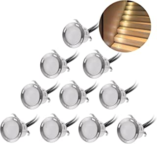 Recessed LED Deck Lighting Kits 12V Low Voltage Warm White φ22mm Waterproof IP 67,Led in Ground Lighting for Steps,Stair,Patio,Floor,Pool Deck,Kitchen,Outdoor Led Landscape Lighting(10Pcs/Pack