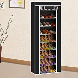 Ehome 10 Tiers 9 Grid Portable Shoe Rack Closet with Dustproof Fabric Cover Shoe Storage Organizer Cabinet, Side Pockets for Garment, Shoes, Accessories (US Stock)