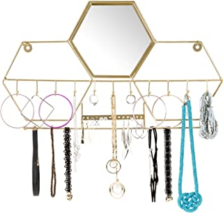 Wall-Mounted Jewelry Storage Organizer: Metal Holder Hanging Mirror Display Hooks for Hanging Rings Earings Necklace Holder Home Decor