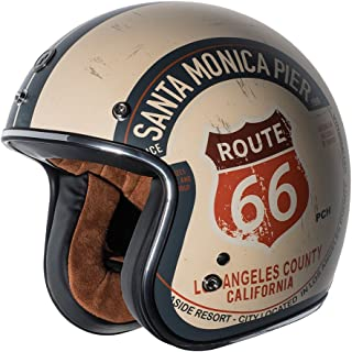 TORC Unisex-Adult Open-face Style T50 Route 66 3/4 Helmet (with 'PCH' Graphic) (Flat White, Small)