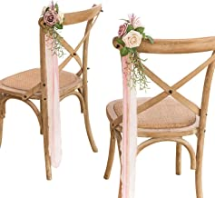 Ling's moment Wedding Aisle Decorations Set of 8 Pew Flowers with Tails for French Style Wedding Decorations (Natural Dusty Rose)