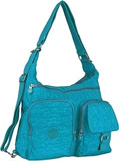 Womens CrossBody Shoulder Backpack Travel School Bag - Multi Zip Pockets Convertible Bag - Rainproof Everyday Rucksack Travel Daypack (Turquoise)
