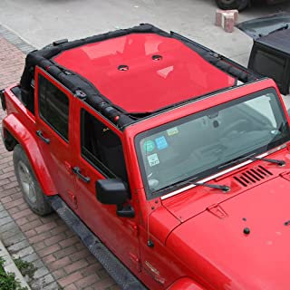 JeCar Mesh Shade Top Cover UV Protection Soft Top for Jeep Wrangler JK 2007-2018 (4 Door Red)