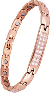 Sparkling Womens Czech Crystal Titanium Magnetic Therapy Bracelet Pain Relief for Arthritis and Carpal Tunnel