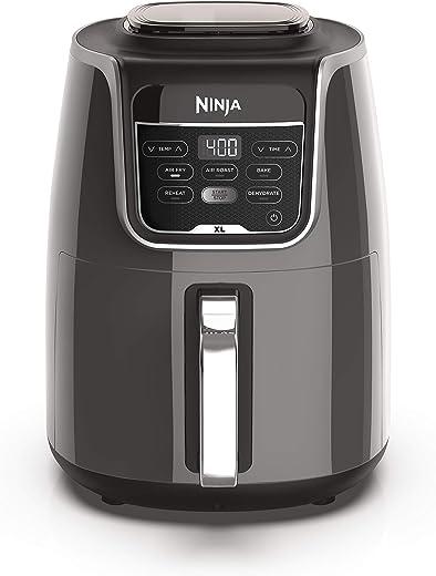 Ninja AF150AMZ Air Fryer XL that Air Fry's, Air Roast's , Bakes, Reheats, Dehydrates with 5.5 Quart Capacity, and a high gloss finish, grey