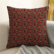 Christmas Printed Custom Pillowcase Romantic Vibrant Roses and Buds Holly Berries Pine Cones and Leaves Print Decorative Sofa Hug Pillowcase W16 x L24 Inch Red Brown Green