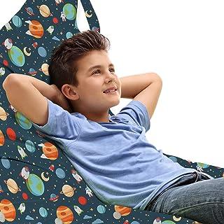 ABAKUHAUS Garderie Jouet Sac de Rangement Chaise Lounge, Planètes Cartoon dans l'espace, Stockage pour Animal en Peluche à...