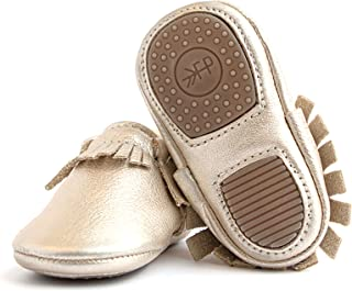 Rubber Mini Sole Leather Moccasins - Toddler Girl Boy Shoes - Infant/Toddler Sizes 3-7 - Multiple Colors