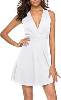 Womens Sexy V Neck A-line Homecoming Cocktail Party Skater Dress