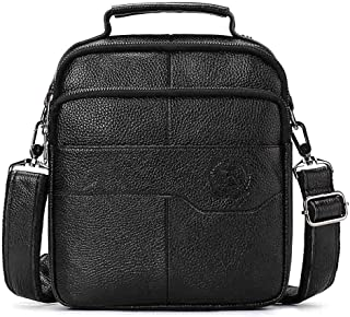 Men's Skewed Business Fashion Handbag with Cowhide Head Layer (Color : Black, Size : S)