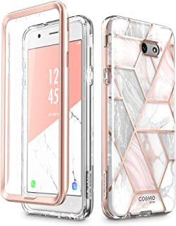 i-Blason Case Designed for Galaxy J7 2017, Cosmo Series Full-Body Glitter Bumper Case with Built-in Screen Protector for Galaxy J7 (SM-J727), Not fit J7 2018 (SM-J737) (Marble)