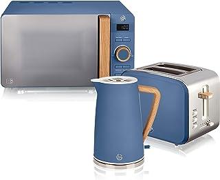Swan Nordic Set petit-déjeuner bouilloire 1,7 L 2200 W, grille-pain à fente large 2 tranches, micro-ondes 20 L numérique, ...