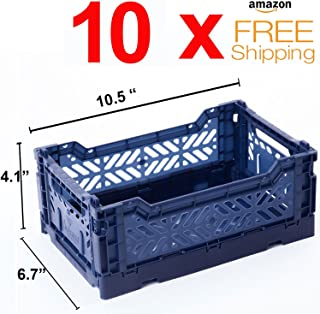 AY-KASA 10 x Collapsible Storage Bin Container Basket Tote, Folding Basket Crate Container : Storage, Kitchen, Houseware Utility Basket Tote Crate Mini-Box (Navy)