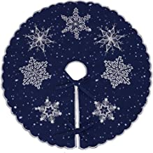 Simhomsen Small Mini Christmas Holiday Embroidered Snowflakes Tree Skirt, only for Tabletop Pencil Tree (Navy Blue, Round ...