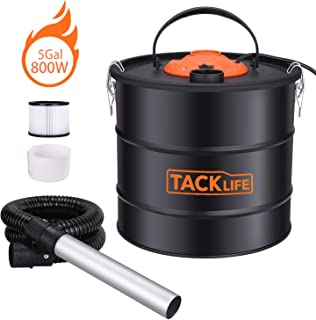 TACKLIFE Ash Vacuum Cleaner bagless, 800W 120V 5Gal 3.3ft Hose+16.4ft Cord+7.9in Aluminum Tube, Debris/Ash Collector, Suitable for Fireplaces/Carbon Stoves/Pellet Stoves/Barbecues/Braziers HXPVC03A