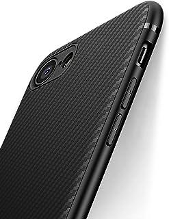 J Jecent iPhone SE ケース[第2世代] iPhone 7ケース iPhone 8ケース シリコン TPU [耐衝撃 衝撃吸収] [薄型 軽量] [炭素繊維テクスチャーのシリコンケース] [Qi充電対応] [全面保護 指紋防止 ...