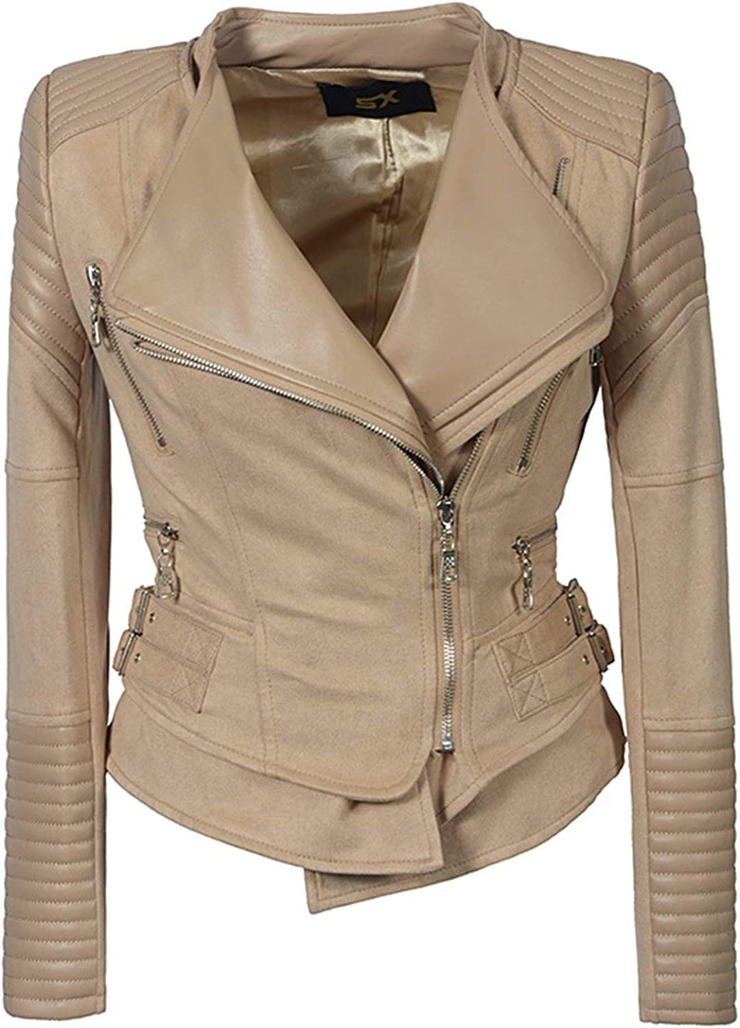 Classic Lapel Zip Up Leather Jacket Fashion Short Slim Pure color Long Sleeve Coat Ladies Girls Daily Outwear