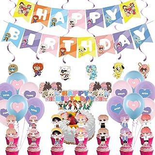 BTS Birthday Decorations Set, NALCY 36 Pcs BTS Conjunto de Decoración de cumpleaños BTS Cupcake Toppers Banner Globos Happ...